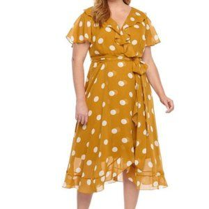 DANNY AND NICOLE POLKA DOT DRESS 24W NWT